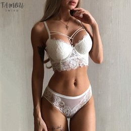 Wholesale panties gathered resale online - Top Sexy Underwear Green Bras Cotton Brassiere Women Lingerie Lace Set Embroidery Push Up Bra Panties Sets Deep V Gather