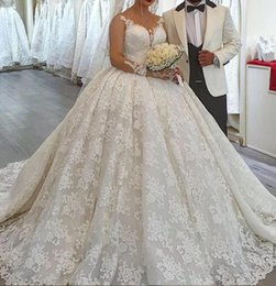 green fall dresses NZ - 2019 fall Amazing Arabic Luxury puffy Ball Gown Wedding Dresses court Train full Lace off the shoulder bridal gowns lace up plus size