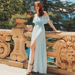 $enCountryForm.capitalKeyWord Australia - Ever Pretty Women Elegant Sexy Long Bridesmaid Dresses Spring Chiffon A Line Blue Formal Wedding Party Gowns Vestido Gala S19713