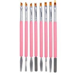 acrylic painting patterns NZ - Professional Oblique Acrylic Painting Nail Brush Pattern Design & Cuticle Nail Pusher 2 ways Manicure Sawtooth Pen 100sets