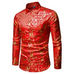 China Shirt Men 2019 Spring New Fashion Male Slim Fit Long Sleeve Print Red Dress Shirts Camisa Masculina Christmas Deals S-XXL cheap deal dresses suppliers