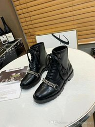 Short chain deSignS online shopping - 2019 Collection spring fall womens Ladies black REAL Leather design SHORT BOOTIES Tassel Metal Chains flat heels Military Casual BOOTS