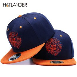 Cool spring hats for boys online shopping - High quality lion face embroidery snapback cap cool king hip hop hat for boys and girls