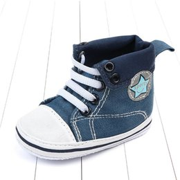 Wholesale Canvas High Shoes Australia - New canvas baby shoes casual newborn high shoes toddler shoes Moccasins Soft First Walking Shoe infant shoe Baby Footwear A6447