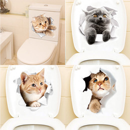 black cat window stickers 2019 - Cartoon animal stickers 3d stickers on the toilet seat for refrigerator cute cats PVC wall stickers window bathroom deco