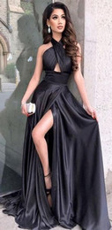 sexy halter dress for girls 2019 - Sexy Girls Halter Long Black Prom Dresses with Pockets Plus Size Custom Made Side Slit Evening Gowns Party Dress for Wom