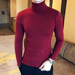 Crochet Sweater Xl Australia - New 2018 Sweater Men Clothing Men's Sweaters Black Red Casual Autumn Wool Pullover Men Turtleneck Homme Top T190618