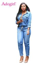 66364d09c1c Adogirl Vintage Plus Size Jeans Jumpsuit Turn Down Collar Long Sleeve  Bandage Denim Rompers Women Bodysuits Combinaison S-3XL  400995