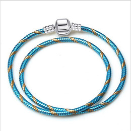 $enCountryForm.capitalKeyWord NZ - 16-21cm Fine Jewelry Woven 100% Genuine Leather Bracelet 925 Silver Clasp Bead Fits Women Snake Color Double Layer Charms Bracelet DIY Women