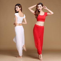 $enCountryForm.capitalKeyWord NZ - Women Belly Dance Suit (Tops+Trousers) 5 Colors Female Short Sleeve O-Neck Belly Dance Costumes 2 Pcs Latin Ballroom Set