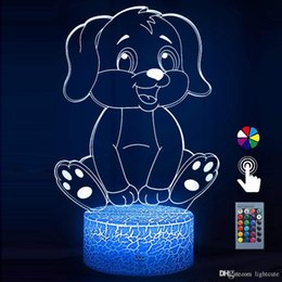 bedside toys Canada - Night Lights for Kids Dog 3D Night Light Bedside Lamp Dog Toy Light 16 Colors Changing with Remote Control Best Christmas Gifts and Birthday