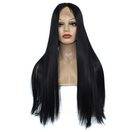 Style For Long Black Hair Australia - 2019 Fashion Fiber Wigs For Women Long Straight Lace Front Full Wig With Baby Hair High Density Temperature Black hair styling