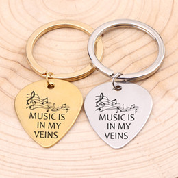 Discount carved guitars - Music Lover Guitar Pick Keychain Hand Carved Music Is In My Veins Note Gift For Girls Boyfriend Friend Birthday Jewelry