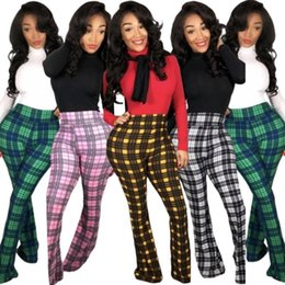 $enCountryForm.capitalKeyWord Australia - Womens sexy Trousers jeans Pants Casual bootcut trousers plaid colours sports Pants Womens Sexy tight Sport Pants women clothing klw2036