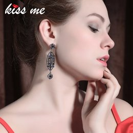 $enCountryForm.capitalKeyWord Australia - New Blue Rhinestone Hollowed Geometric Drop Earrings Zinc Alloy Vintage Long Earring Fashion Women Bijoux