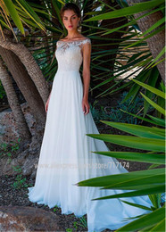 Chiffon Bateau Neckline Wedding Dress Australia - Fashionable Chiffon Bateau Neckline Full-length A-line Wedding Dress With Lace Appliques Bridal Dress long dress elegant