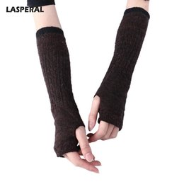 Knitted Gloves Men Australia - LASPERAL 2017 Fashion Knitted Warm Half-finger Gloves Women Men Long Fingerless Gloves Autumn Winter Casual Multicolors