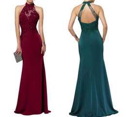 black lace fishtail evening dress Australia - New Bridesmaid Dresses High Quality Formal Evening Dresses Dark Green Elegance Halter Lace Sleeveless Backless Fishtail Prom Dresses