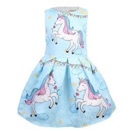$enCountryForm.capitalKeyWord NZ - 2019 Kids Designer Clothes Girls summer new short sleeved dress for girls unicorn children dress skirt