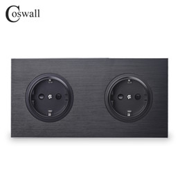 Black Power Socket Australia - Coswall Luxurious Black Aluminum Panel 16A Double EU Standard Wall Power Socket 2 Way Outlet Grounded With Child Protective Lock