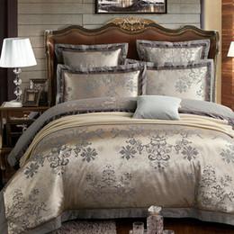 $enCountryForm.capitalKeyWord Australia - Classic Oriental Embroidery Jacquard Luxury Bedding set King Queen size 4 6Pcs Silk Cotton Satin Bed set Duvet cover Bedsheet