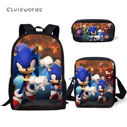 Discount gold hedgehog - ELVISWORDS Children 3PCs Set Backpack Cartoon Sonic The Hedgehog Pattern Students School Bags Set Backpack Messenger Bag