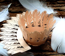 $enCountryForm.capitalKeyWord Australia - Laser Cut Pearlcent feather Cupcake Wrapper Liner Baking Cup For Home Wedding Birthday Christmas Party Decoration