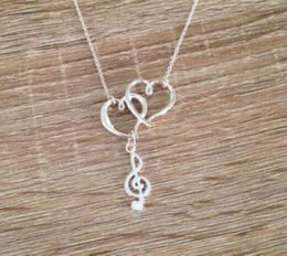 music notes clef Canada - Vintage Silver Treble Clef Double Heart Music Note Necklaces Pendants Charms Statement Choker Necklaces Women Jewelry Gifts Party