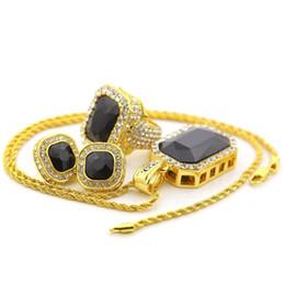 $enCountryForm.capitalKeyWord UK - Hip hop jewelry set gemstone ring earrings pendant necklace Blingbling cross-border supply ebay hot sale