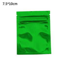 Food Packs Wholesalers Australia - 7.5x10cm Green Glossy Mylar Foil Packing Bag Zip Lock Zipper Top Aluminum Foil Storage Pouches Self Seal Food Grade Storage Bag 100pcs lot