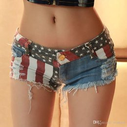 mini short jeans sexy fashion 2019 - 2016 New Hot Sexy Womens Summer US Flag Mini Jeans Shorts Fashion Holes Denim Low Waist Shorts discount mini short jeans
