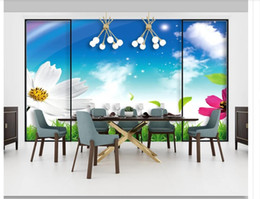 Small House Decoration Australia - Custom 3D photo mural wallpaper wall sticker Modern minimalist blue sky and white clouds small flower sofa hotel background wall decoration