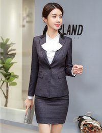 $enCountryForm.capitalKeyWord NZ - High Quality Formal Ladies Grey Blazer Women Business Suits with Skirt and Jacket Sets Elegant Work Wear OL Styles