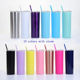 Drink cup straw online shopping - 20oz Skinny Tumbler Stainless Steel Vacuum Insulated Straight Cup Beer Coffee Mug Glasses with Lids and Straws MMA2513