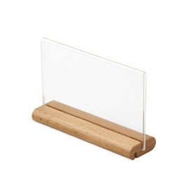 christmas frames UK - A6 Table Tent Wood Acrylic Menu Paper Sign Holder Stand Price Ticket Holder Poster Picture Photo Frame For Christmas Advertising