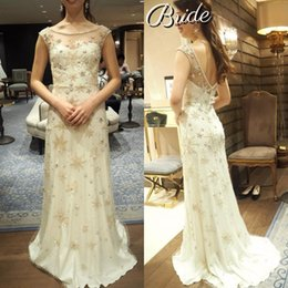 Discount line beaded bodice wedding dresses - 2019 Sheer Jewel Neck Wedding Dresses Full Pearls Beaded Bridal Gowns A Line Sequins Wedding Gowns Custom Hand Made Dres