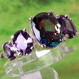 PurPle amethyst white gold ring online shopping - 2019 new sell cheap Rainbow Oval Cut Rainbow Topaz Amethyst Gemstones18K White Gold Plated Ring A0023 Size in stock