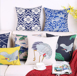 Pillows Blue Chinese Print Australia - chinese porcelain cushion cover decorative cotton linen throw pillow case for sofa chair couch japanese crane almofada