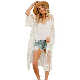 white blouse long sleeve women UK - New Women Lace Boho Kimono Bikini Cover Up Cardigan Long Sleeve Sunscreen Womens Tops And Blouses Long White Lace Cardigan