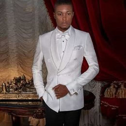 Groom Pants Coat Australia - Groom Wedding Tuxedo Men Suits White Satin Shawl Lapel Slim Fit Man Blazer Custom Made Bridegroom Jacket 2 Piece(Coat+Pants)Terno Masculino