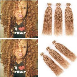honey blonde kinky curly hair 2019 - #27 Honey Blonde Virgin Indian Human Hair Weaves Extensions 3Pcs Kinky Curly Light Brown Virgin Human Hair Bundles Tangl