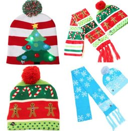 Beanies For Winter Australia - Light up flashing knitted hat scarf LED Christmas bobble hat santa gift stocking filler Winter Warm Beanie hats for kid adult