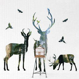 $enCountryForm.capitalKeyWord UK - Forest Animal Deer Elk Bird Art Wall Sticker Woods Tree Wall Stickers Decal For Bedroom Living Room Home Decoration