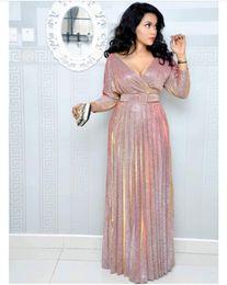 9429d9955eb Plus Size Luxury Gilded Women Dresses 2019 New Sexy V Neck Bronzing Pleated  Maxi Ladies Dress Women Part Evening Dresses with Belt P72