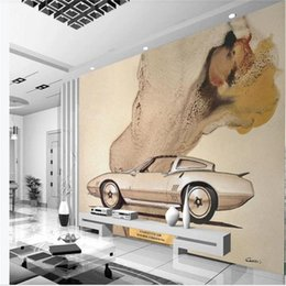 classic painted cars Canada - custom size 3d wallpaper photo wallpaper living room bed room mural classic car ink 3d painting sofa TV backdrop wallpaper non-woven sticker