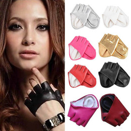 Red Leather Half Gloves Australia - Half Finger PU Leather Gloves Ladys Fingerless Driving Show Gloves New