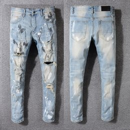 Designer Leather Trousers Australia - Designer Style Men's Snake Embroidery Distressed Patches Leather Sneak Pants Skinny blue Jeans Slim Trousers Amiri embroidered jeans