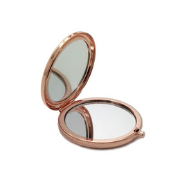 Double Side Pocket Makeup Mirror Metal Silver Gold Rose Gold Cosmetic Foldable Mirror Magnifying Beauty Tool HHA219 on Sale