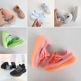 Best kids sneakers online shopping - 2019 Static Best Quality Kids Running Shoes Butter Sesame Cream White Boys Girls baby Sport Sneakers size