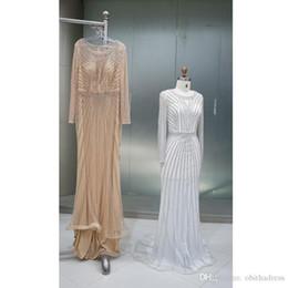 $enCountryForm.capitalKeyWord Australia - Elegant Evening Formal Dresses Shiny Gold Chain Thin Net Small Round Neck Mopping Long-sleeved Prom Dresses Celebrity Dress